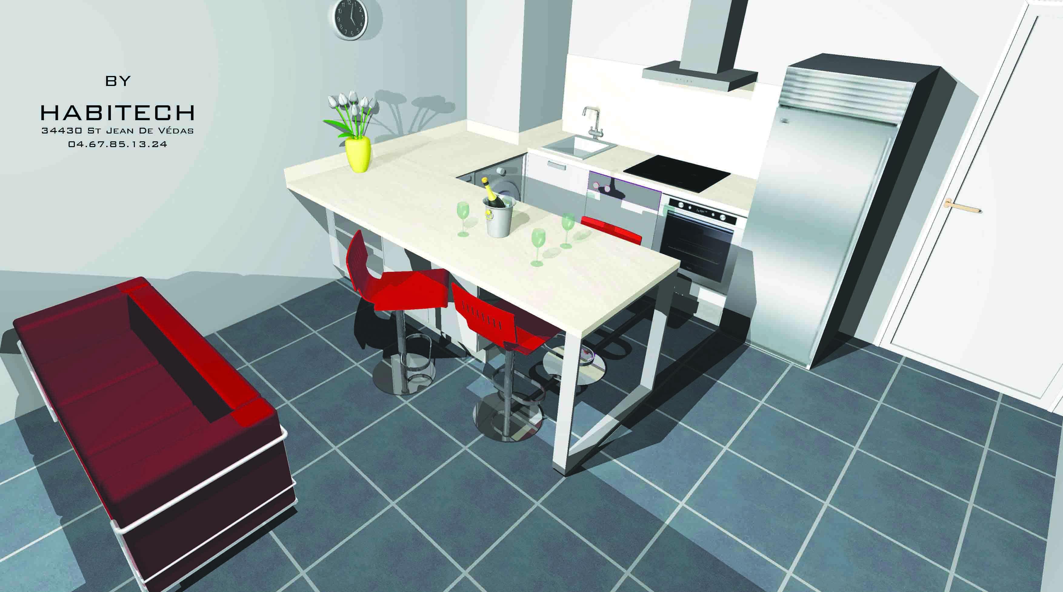 By habitech maquettes de projets for Maquette cuisine 3d